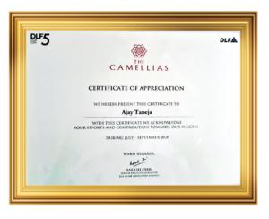 dlf camellias appreciation certificate awarded to mr ajay taneja